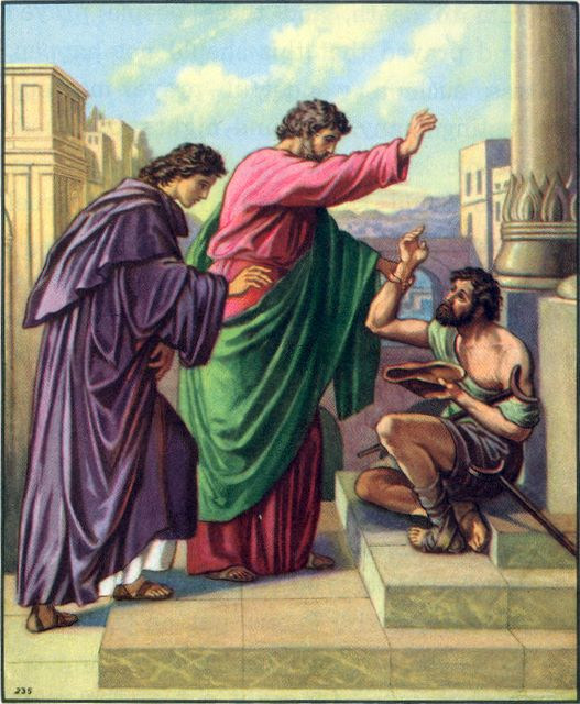 Peter and John heal a lame man by the Gate Beautiful Acts 3:1-7