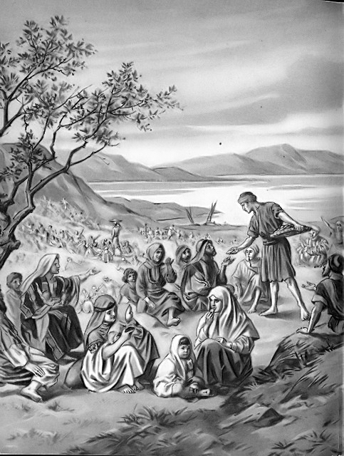 The feeding of the five thousand Matthew 14:19-21
