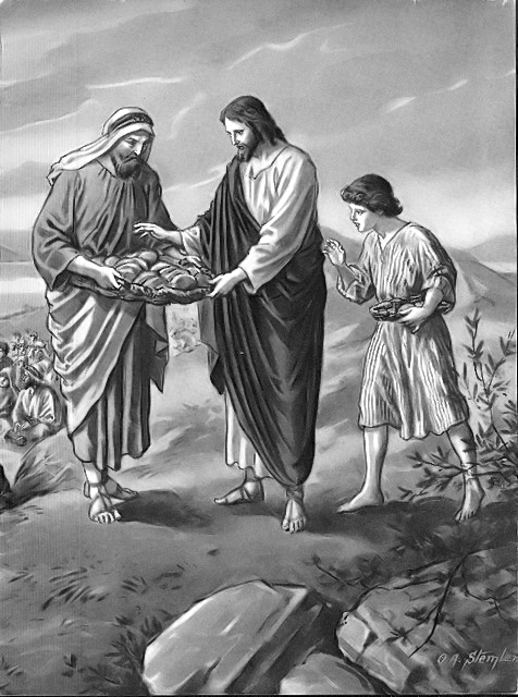 Jesus blesses the loaves and fish before feeding the five thousand Matthew 14:19