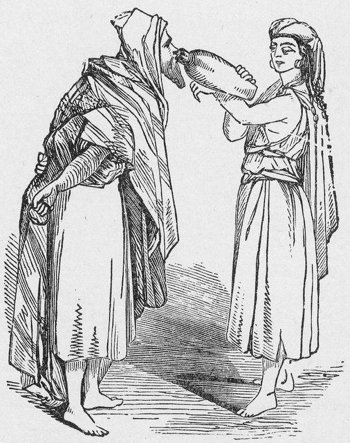 Abraham's servant getting a drink from Rebekah Genesis 24:17
