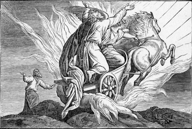 Elijah taken up into heaven while Elisha looks on II Kings 2:11