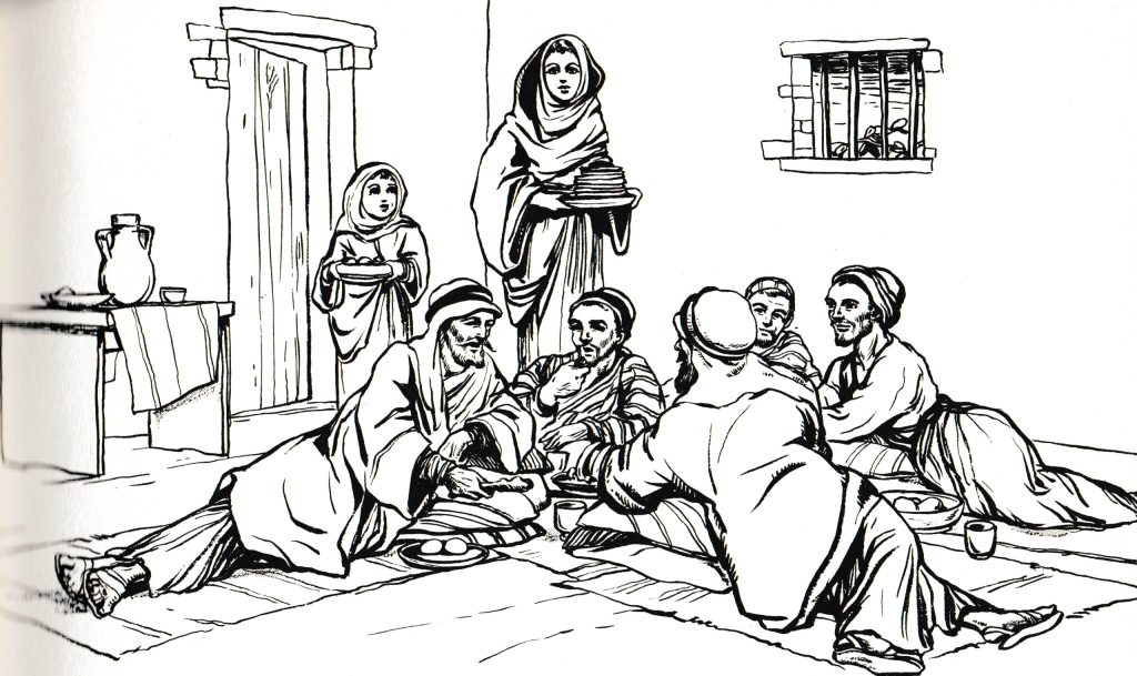 Family and friends reclining to eat (John 12:2)