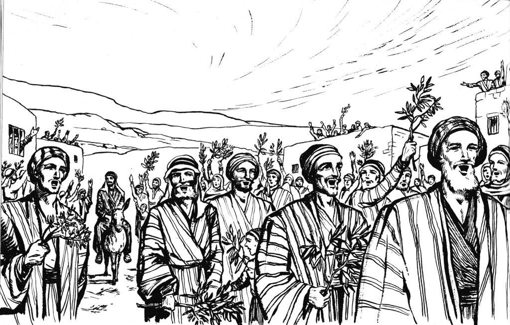 Jesus' triumphal entry (Mark 11:8-10)