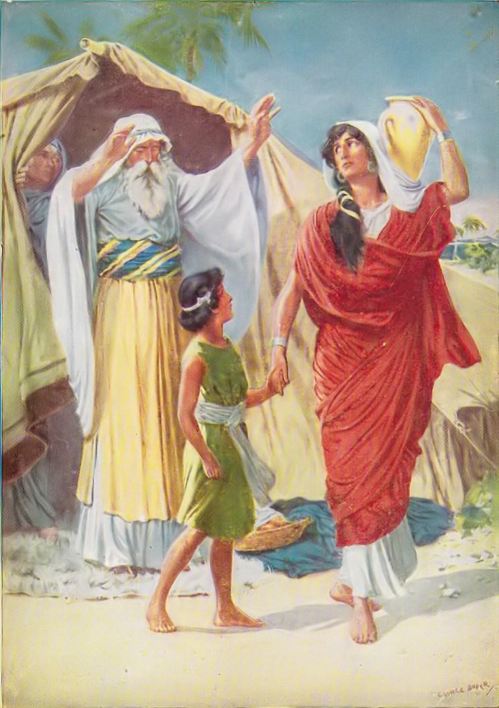 Hagar and Ishmael sent from Abraham's home (Genesis 21:14)