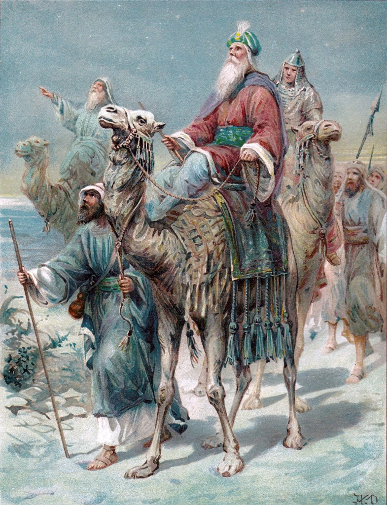 Wise men traveling to see the child king - Matthew 2:1-2