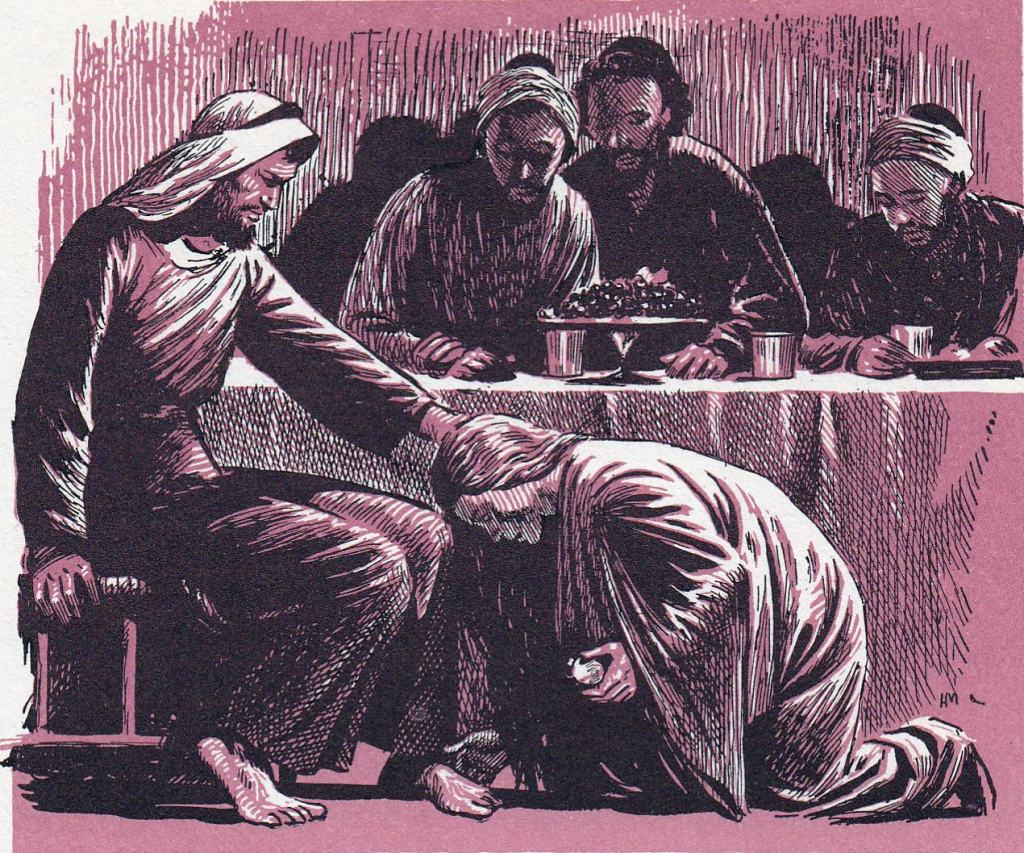 Woman washes Jesus' feet with her tears (Luke 7:37-39)