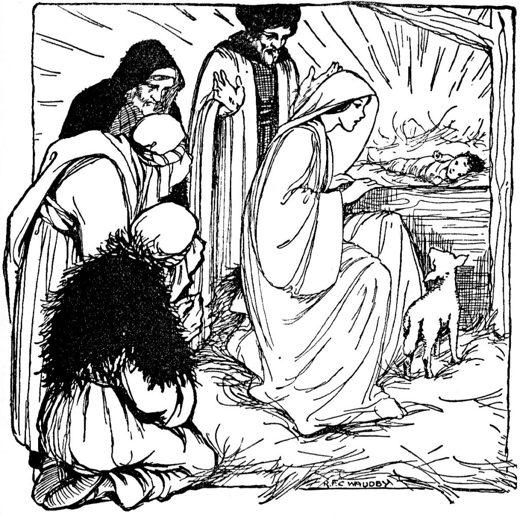 Shepherds visit Jesus, lying in a manger (Luke 2:16)