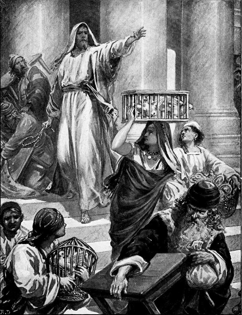 Jesus drives out the merchants and money changers from the temple - John 2:14-17