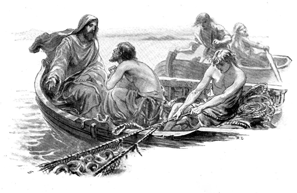 Jesus causes a great catch of fish and Peter begs him to leave - Luke 5:6-8
