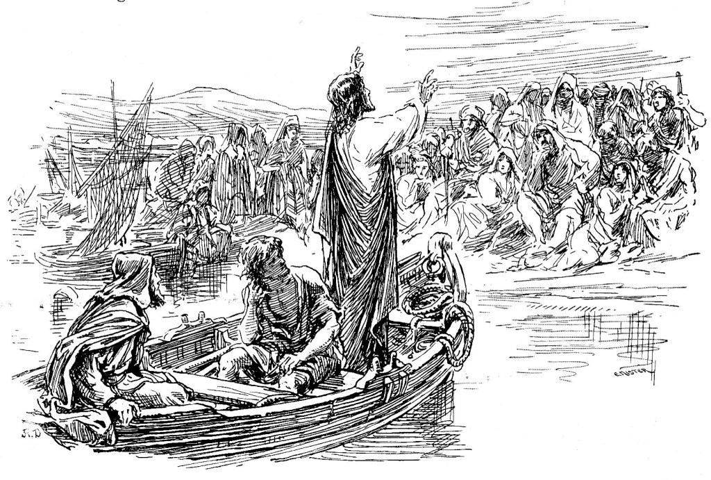 Jesus teaches from Peter and Andrew's boat - Luke 5:3
