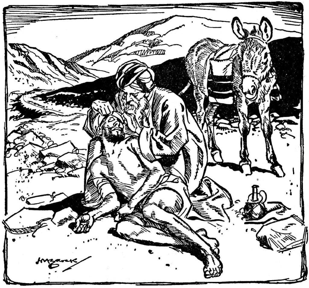 A good Samaritan aids a man injured by thieves (Luke 10:33-34)