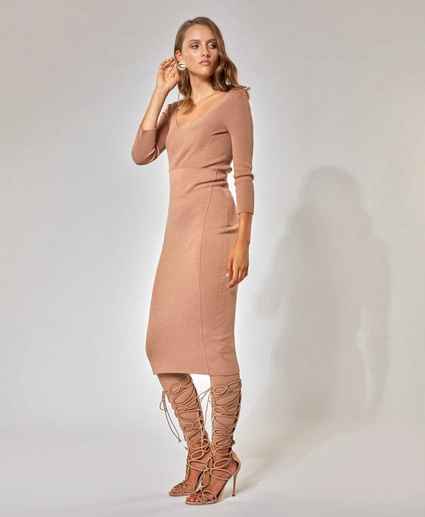 malo_abito-stretch-in-cotone-e-seta-marrone-sabbia-