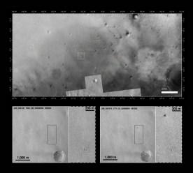 Confronto dello stesso luogo, con foto scattate dal Mars Reconnaissance Orbiter il 29 maggio 2016 (a sinistra) e il 20 ottobre 2016 (a destra). Nella parte riquadrata il puntino nero (in alto) e bianco (in basso) è ciò che rimane di Schiaparelli e del suo paracadute