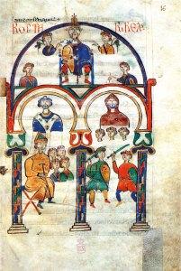 Il re Rotari raffigurato in una miniatura dell'XI secolo, con tutta la sua corte