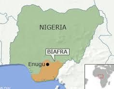 Nella carta troviamo la divisione tra Nigeria e Stato del Biafra, con capitale Enugu.