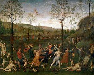 """Il dipinto """"Lotta tra amore e castità"""" di Pietro Perugino (1503)."""