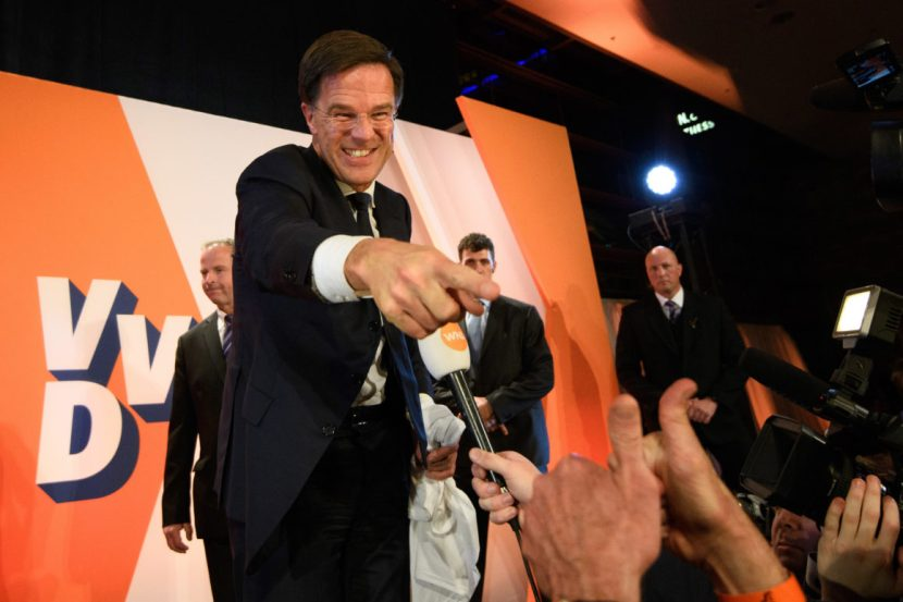 THE HAGUE, NETHERLANDS - MARCH 15:  Dutch Prime Minister Mark Rutte gestures to a supporter after making a speech following his victory in the Dutch general election on March 15, 2017 in The Hague, Netherlands. Dutch voters have gone to the polls in one of the most tightly contested general elections in recent years.  (Photo by Carl Court/Getty Images)