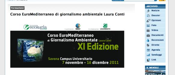 Corso euro mediterraneo di giornalismo ambientale Laura Conti