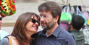 Dario Franceschini con la moglie Michela Di Biase. In alto lo vediamo nel fotomontaggio con Valter Mainetti e, sullo sfondo, la sede di Sorgente Group