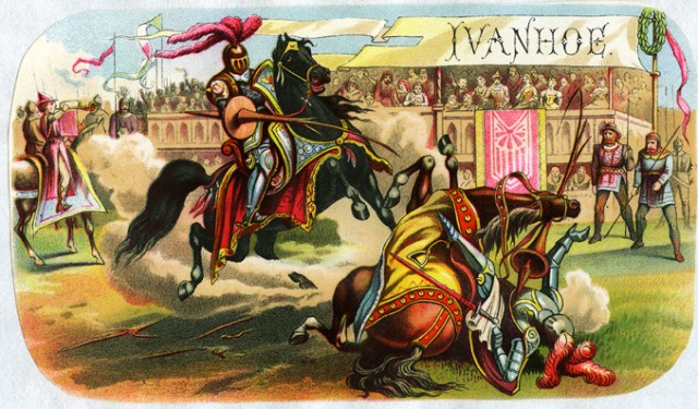 NEW YORK - 1880.  The Ivanhoe cigar box label, from about 1880, with a jousting scene, is from the lithographers Heppenheimer and Maurer of New York.  (Photo by Mark Rucker/Transcendental Graphics, Getty Images)  *** Local Caption ***