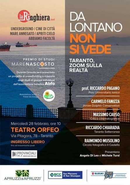 """""""Da lontano non si vede"""", al teatro Orfeo """"La Ringhiera"""" porta in scena Taranto"""