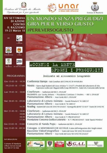 """Dal 18 al 23 marzo Manduria: """"XIV SETTIMANA EUROPEA CONTRO IL RAZZISMO"""""""