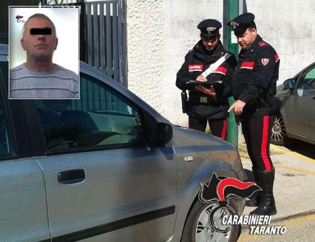Ruba un'autovettura a Grottaglie ma viene intercettato dai carabinieri. Arrestato un 49enne di Sava