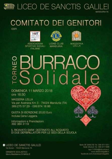 Domenica 11 marzo 2018 a Manduria, Torneo Solidale di Burraco per l'acquisto di due defibrillatori da destinare alle scuole