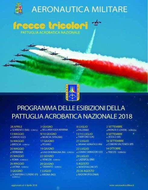 Le Frecce Tricolori nel cielo di Taranto il 29 giugno prossimo