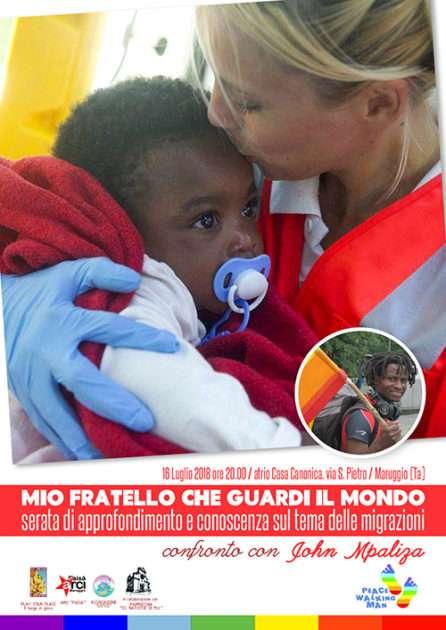 """Lunedì 16 luglio a Maruggio """"Mio fratello che guardi il mondo"""". Un confronto con John Mpaliza sul tema delle migrazioni"""