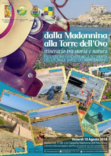 """Il 10 Agosto: """"Dalla Madonnina alla Torre dell'Ovo"""", escursione alla scoperta del litorale ovest di Campomarino di Maruggio"""