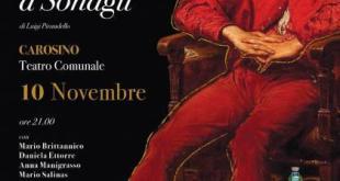 """A Carosino """"Il berretto a sonagli"""" di Pirandello con Teatrando"""