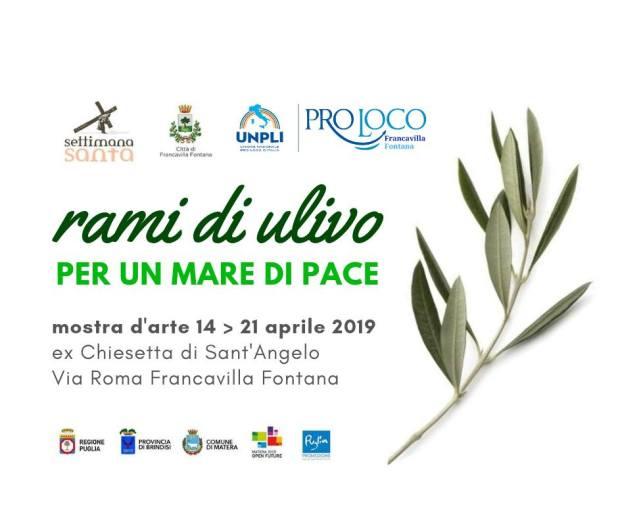 Francavilla Fontana inaugurazione mostra d'arte: rami di ulivo per un mare di pace