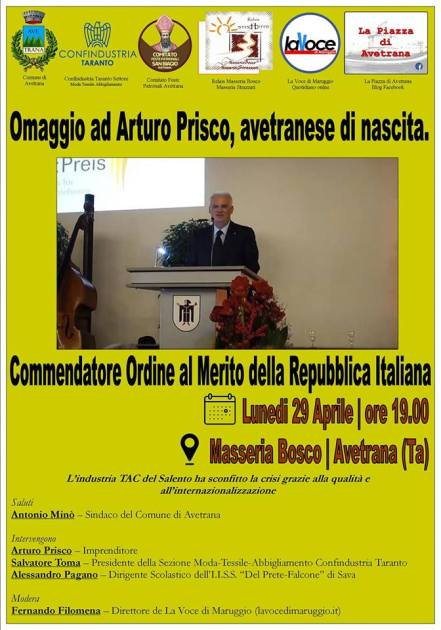 """Avetrana 29 aprile: omaggio ad Arturo Prisco """" il Re delle stoffe"""", avetranese di nascita"""