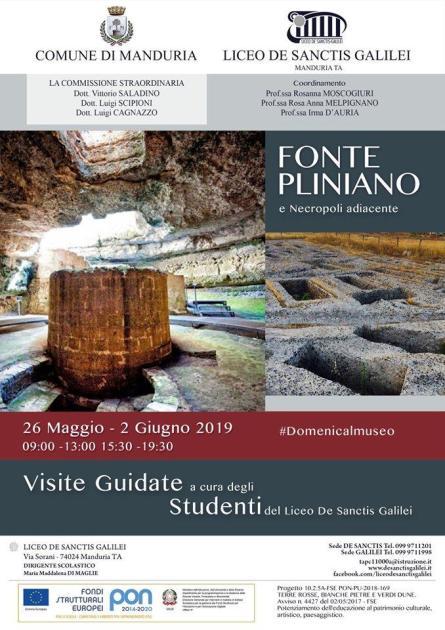 Domenica 26 Maggio e 2 Giugno apertura straordinaria del Fonte Pliniano. Visite guidate a cura degli studenti del Liceo De Sanctis Galilei