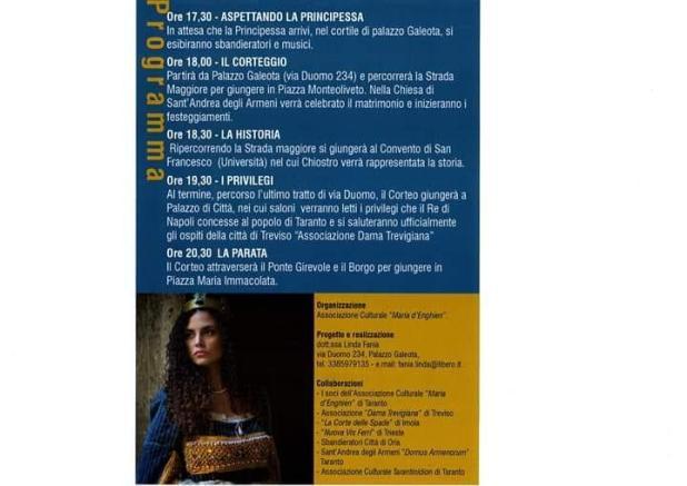 Taranto, sabato 11 maggio XXI Edizione rievocazione del matrimonio tra Ladislao, Re di Napoli, e Maria d'Enghien