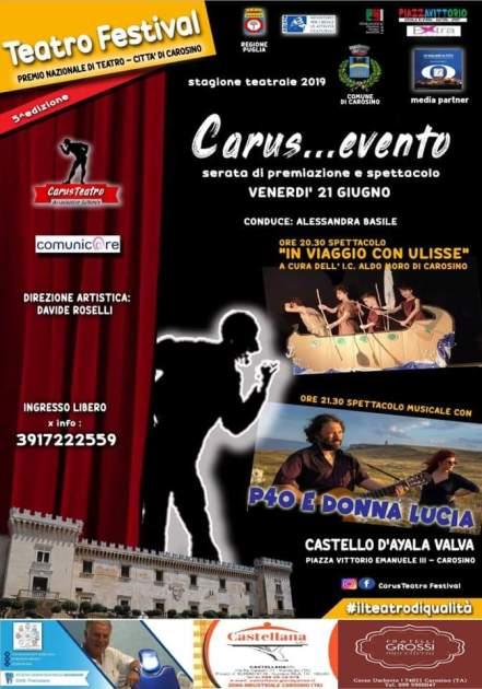 Carosino, venerdì 21 giugno, serata di premiazione e spettacolo: Carus...evento