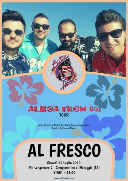 Domani 25 luglio, gli BILLIE HARD,  live Al Fresco a Campomarino di Maruggio