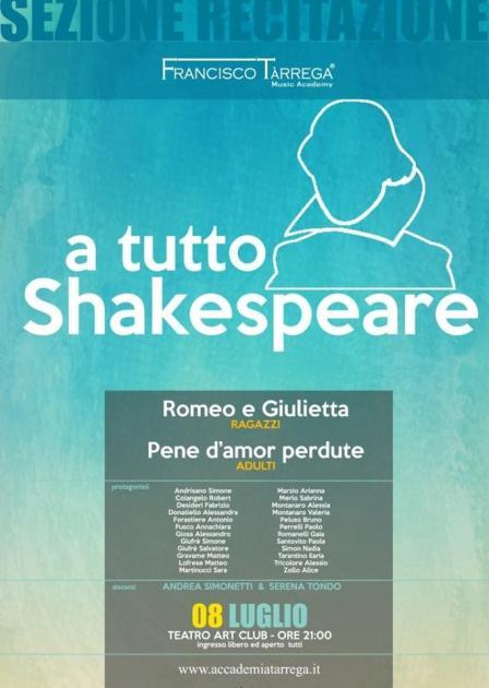 """""""A tutto Shakespeare"""". Spettacolo finale Allievi di Recitazione Accademia Francisco Tarrega"""