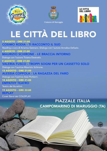 """Campomarino di Maruggio, cultura in spiaggia con il progetto """"Le città del libro"""". Tanti gli appuntamenti in programma. Si parte il 5 agosto"""