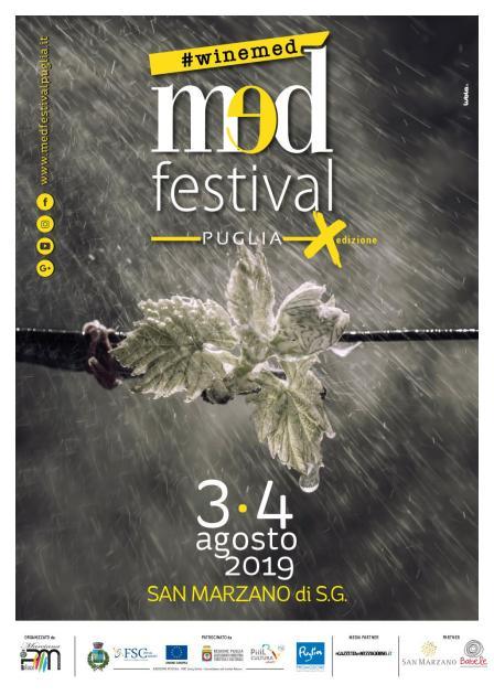 """San Marzano di San Giuseppe: oggi il via alla decima edizione di MedFestival Puglia """"Winemed"""""""