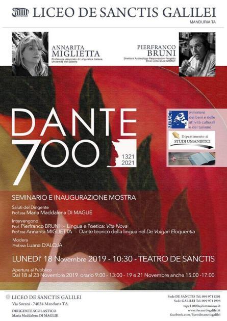 DANTE700 Liceo De Sanctis Galilei di Manduria: Celebrazioni con Convegno e Mostra il 18 novembre 2019