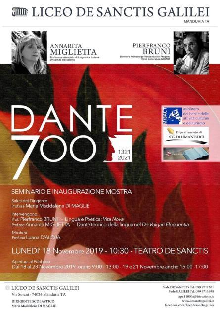 Lunedì 18 Novembre a Manduria il primo Evento Nazionale su DANTE700 con il Liceo Galilei De Sanctis, Università del Salento, Mibact e Sindacato Libero Scrittori