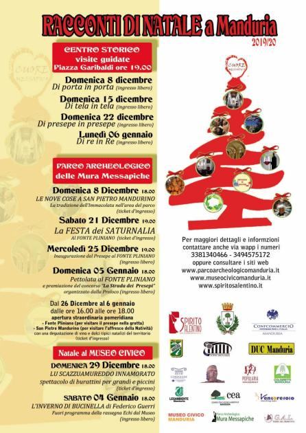 """Cuore Messapico presenta il programma eventi """"RACCONTI DI NATALE"""", che da dicembre a gennaio animeranno il centro storico e il parco archeologico di Manduria"""