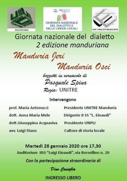 """Martedì 28 gennaio - Giornata Nazionale del Dialetto e delle Lingue Locali """"Manduria jeri-Manduria osci"""""""