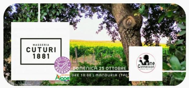 """DOMENICA 25 OTTOBRE 2020 Masseria Cuturi in """"Wine Trekking Experience"""" h.10:00, MANDURIA (TA)"""