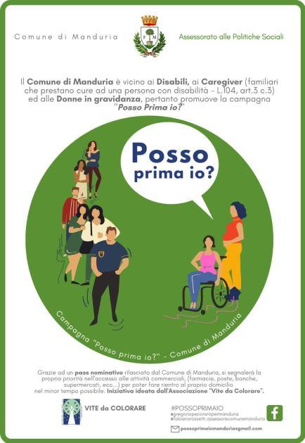 """MANDURIA – L'assessorato alle politiche sociali lancia la campagna """"Posso prima io?"""""""