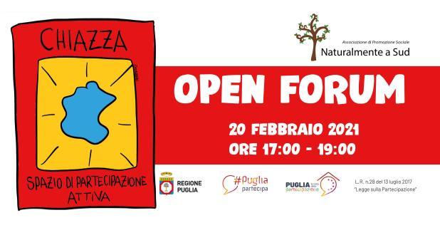 "Oggi a Manduria. Open Forum ""LA PARTECIPAZIONE CIVICA A MANDURIA TRA SFIDE ED OPPORTUNITÀ"""