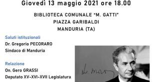 MANDURIA – Incontro con l'onorevole Gero Grassi, giovedì 13 maggio per ricordare Aldo Moro