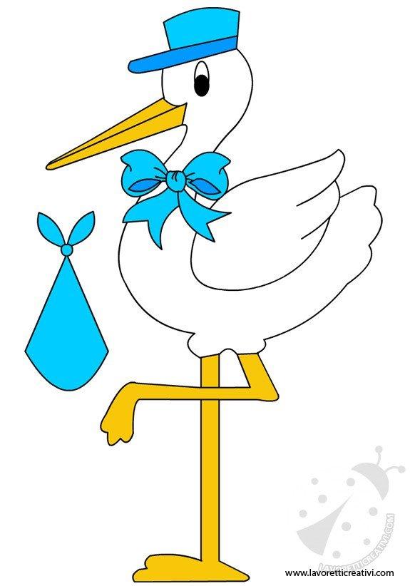 Sagome cicogna annuncio nascita bambino lavoretti creativi - Cicogna da giardino per nascita ...
